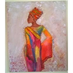 Κορίτσι της Αφρικής - Αυθεντικός πίνακας ζωγραφικής