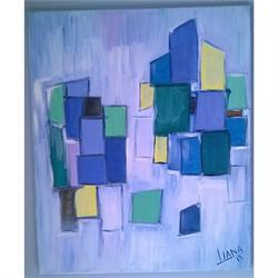 Μπλε Κύβοι - Αυθεντικός πίνακας ζωγραφικής