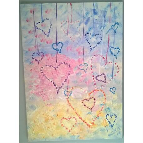 Hearts on a String - Original painting