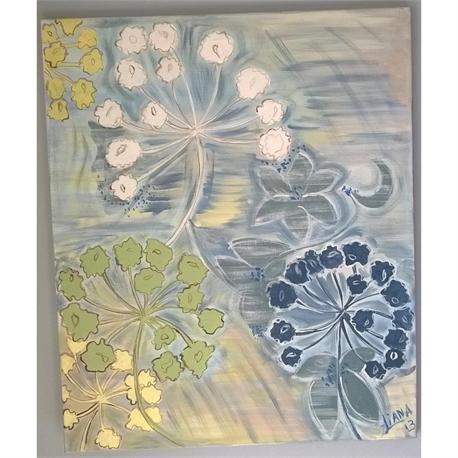 Blue Dandelions - Original painting