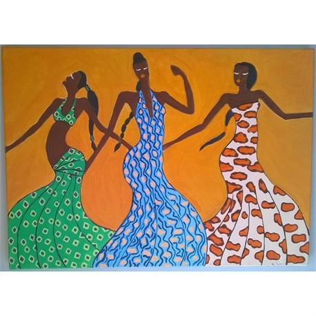 Χορεύτριες Αφρικάνες - Αυθεντικός πίνακας ζωγραφικής