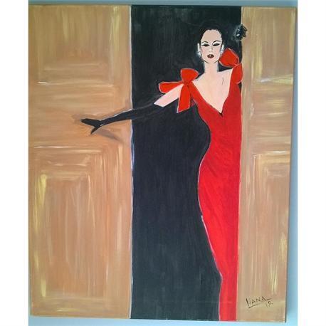 Κυρία στα Κόκκινα - Αυθεντικός πίνακας ζωγραφικής
