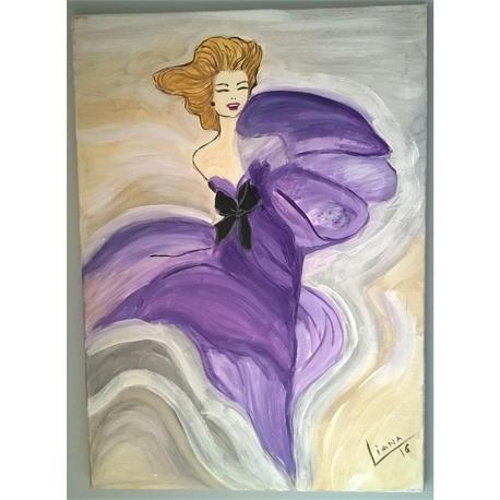 Μωβ πέπλο - Αυθεντικός πίνακας ζωγραφικής