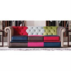 Καναπές 3θέσιος Patchwork Velure