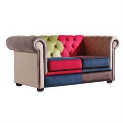 Καναπές 2θέσιος Patchwork Velure