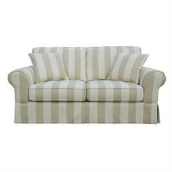 Καναπές 2θέσιος Μπεζ Ριγέ