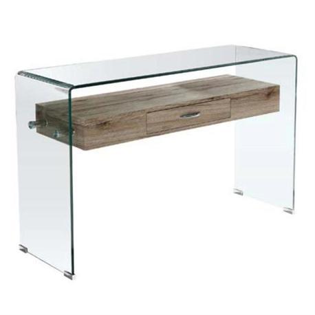 Κονσόλα γυάλινη με ράφι ξύλινο