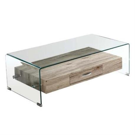 Coffee Table from Glass 12mm with wood shelf