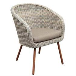 Armchair r. Alu Teak Wicker Natural