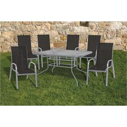 Set 7 pcs table 150X90 + 6 armchairs grey