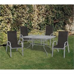 Set 5 pcs table 120X70 + 4 armchairs grey