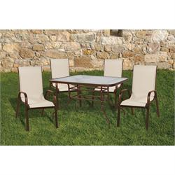 Set 7 pcs table 150X90 + 6 armchairs brown