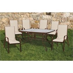 Set 5 pcs table 120X70 + 4 armchairs brown