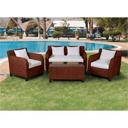 Set 4 pcs - 2s sofa + coffee table + 2 armchairs rattan natural