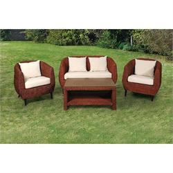 Set 4 pcs - 2s sofa + coffee table + 2 armchairs rattan natural