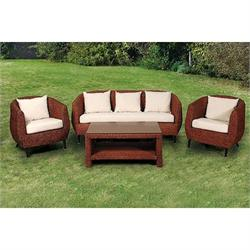 Set 4 pcs - 3s sofa + coffee table + 2 armchairs rattan natural