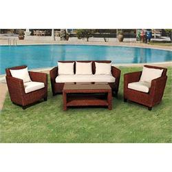 Σετ 4 τεμ. Καναπές 3θ + τραπέζι + 2 πολυθρόνες φυσικό rattan