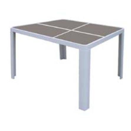 Table white alu brown glass 140x140 cm for Table 80x120