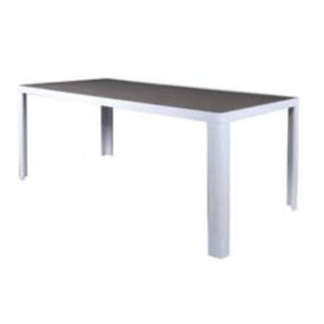 Table white alu brown glass 180x90 cm for Table 80x120