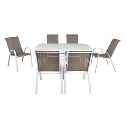 Set (7-pcs) Steel White - Textilene & Glass Beige