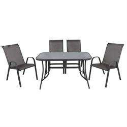 Set 5pcs (Table 120x70 + 4 Armchairs) Steel - Textilene Grey