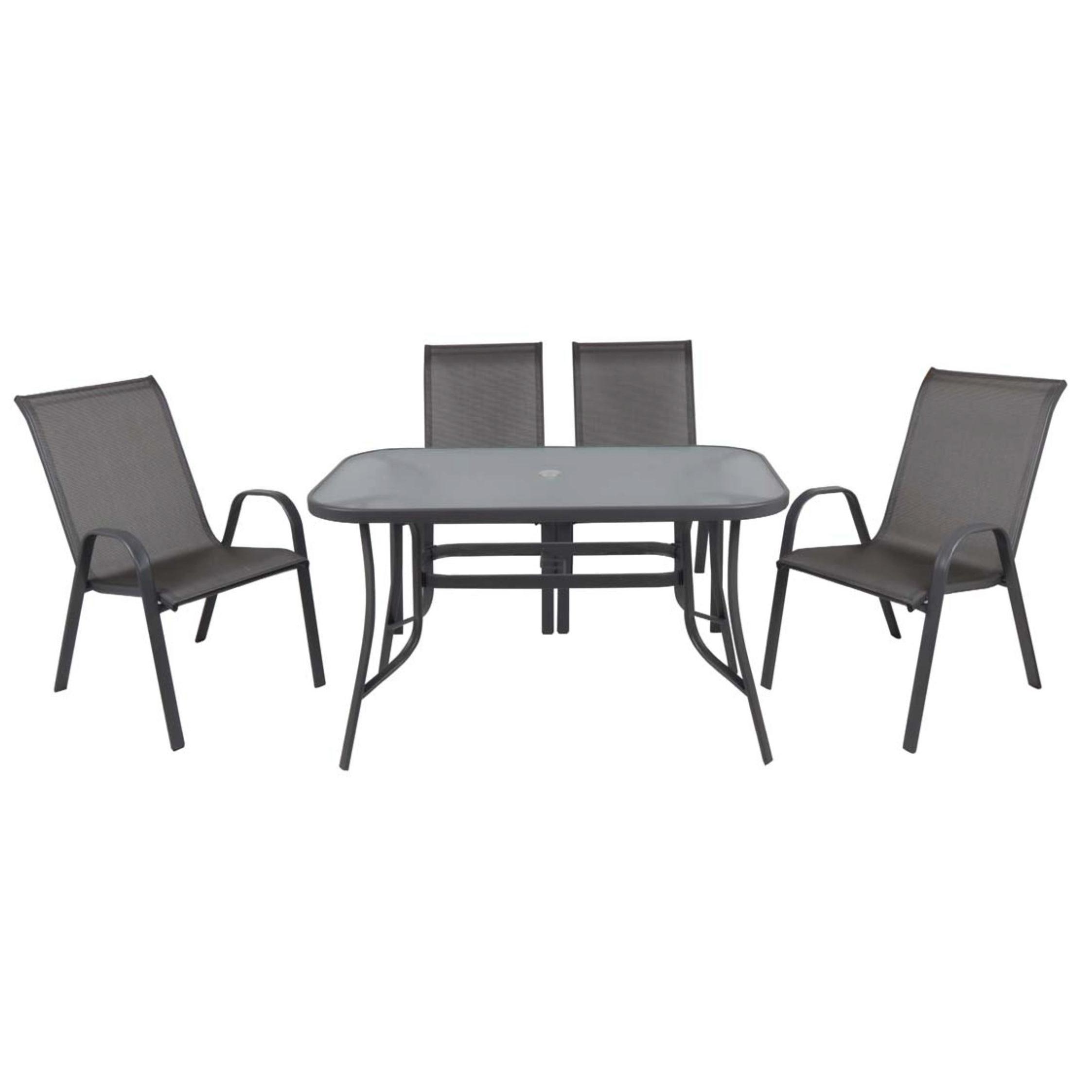Set 5pcs Table 120x70 4 Armchairs Steel Textilene Grey