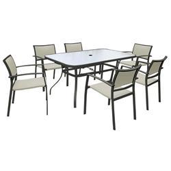 Σετ 7 τεμ. (Τραπέζι 153x96 + 6 Πολυθρόνες) Μεταλ.Ανθρακί Textilene Μπεζ
