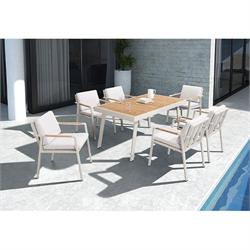Dining set 7 pcs - Table + 6 armchairs teak / alu