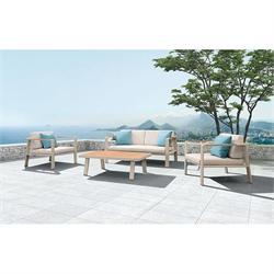 Σετ 4 τεμ. Καναπές 2θ + τραπέζι + 2 πολυθρόνες teak / αλουμίνιο