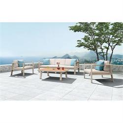 Σετ 4 τεμ. Καναπές 3θ + τραπέζι + 2 πολυθρόνες teak / αλουμίνιο