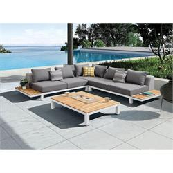 Set 4 pcs - Corner sofa + coffee table teak / alu