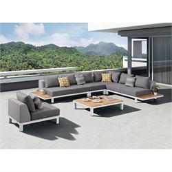 Σετ 6 τεμ. Γωνιακός καναπές + τραπεζάκι +2 πολυθρόνες teak / αλουμίνιο