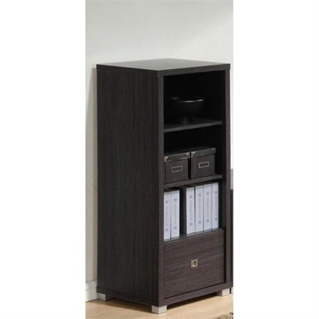 Shelving unit with 1 drawer zebrano