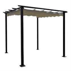 PERGOLA με συρόμενη οροφή 3x3m ALU Ανθρακί / Ύφασμα Μπεζ