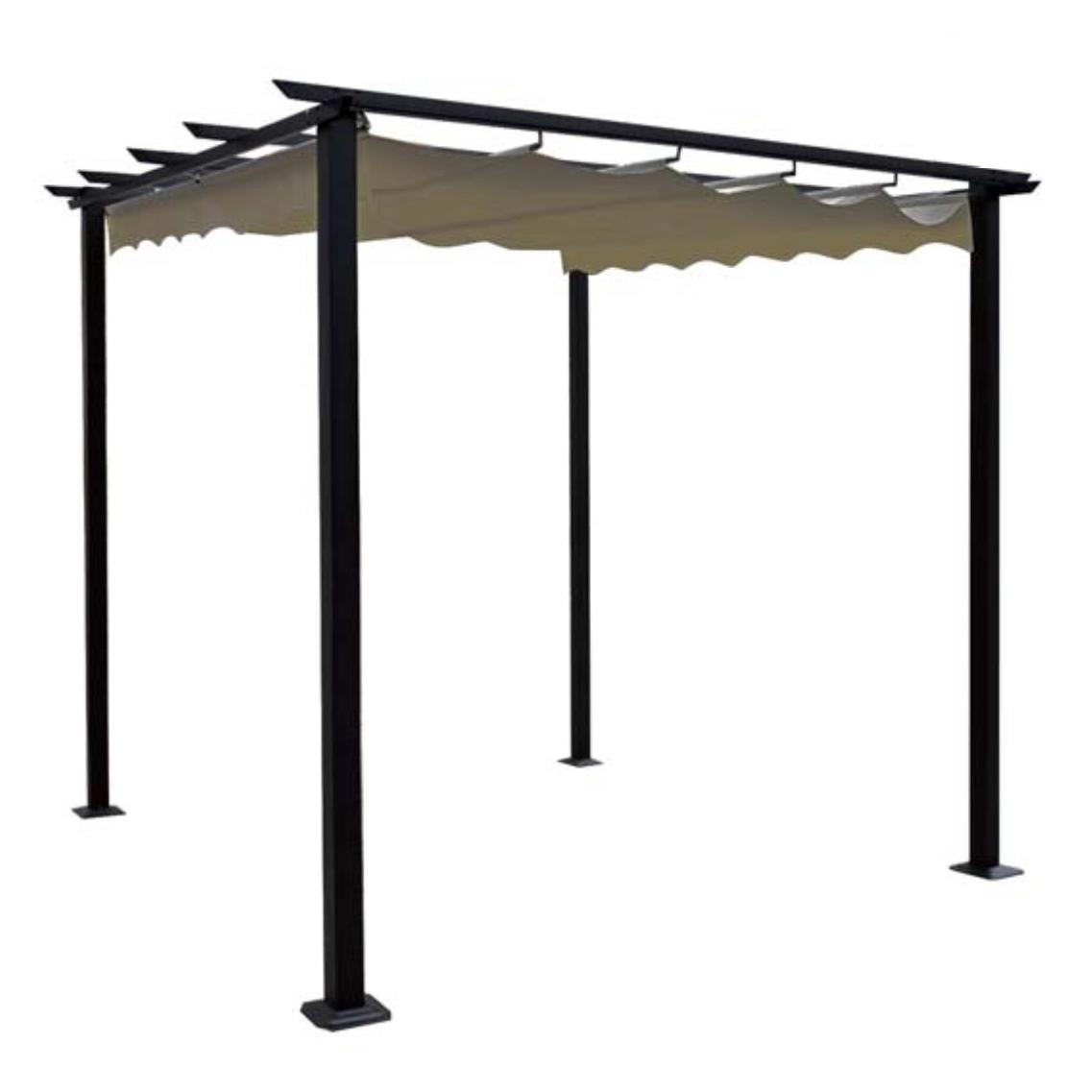 pergola 3x3 m alu anthracite fabric beige. Black Bedroom Furniture Sets. Home Design Ideas