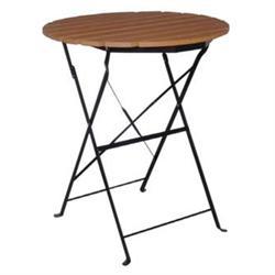 Τραπέζι Πτυσ/νο Φ60cm Μεταλλικό Μαύρο / Polywood Φυσικό
