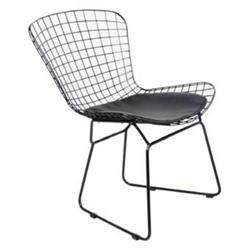Καρέκλα Μεταλλική Mesh Μαύρη Μαξιλάρι Μαύρο PU