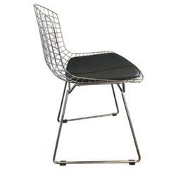 Καρέκλα Μεταλλική Mesh Χρώμιο Μαξιλάρι Μαύρο PU