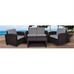 Set (TABLE +3-SEAT SOFA +2xARMCHAIRS) PP CHOC., CUSHIONS GREY