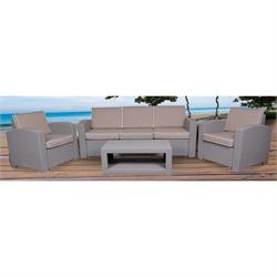 Set (TABLE +3-SEAT SOFA +2xARMCHAIRS) PP GREY, CUSHIONS BEIGE