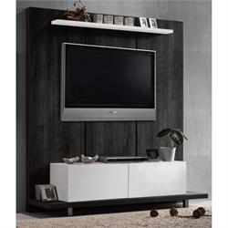 Panel TV wall black oak- white