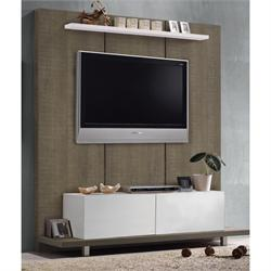 Panel TV wall walnut oak - white