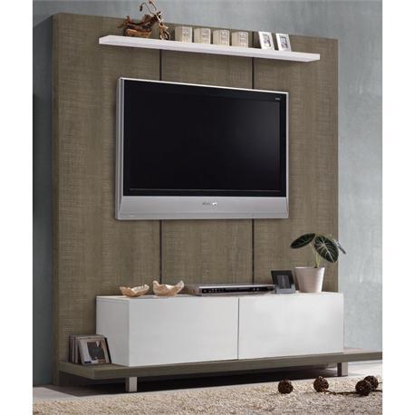 Panel TV wall walnut oak - white