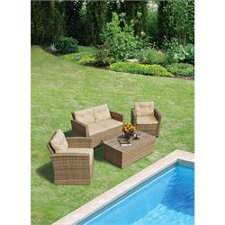 Set 4 pcs Beige 2s sofa + coffee table (storage)+ 2 armchairs Rattan / alu