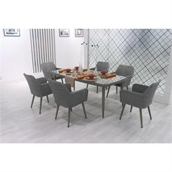 Dining Rattan Set Gray 13 pcs table + 6 armchairs + 6 cushions