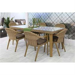 Dining Rattan Set Beige 13 pcs table + 6 armchairs + 6 cushions