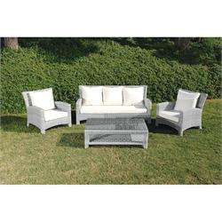 Set 4 pcs L. Gray 3s sofa + coffee table + 2 armchairs Rattan / alu