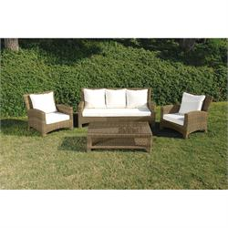 Set 4 pcs Beige 3s sofa + coffee table + 2 armchairs Rattan / alu