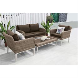 Set 4 pcs Beige 2s sofa + coffee table + 2 armchairs Rattan / alu