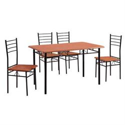 Set (Table + 4 Chairs) METAL BLACK / CHERRY